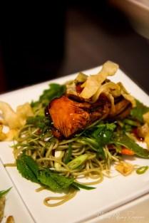 Teriyaki salmon on cold soba @ Chow