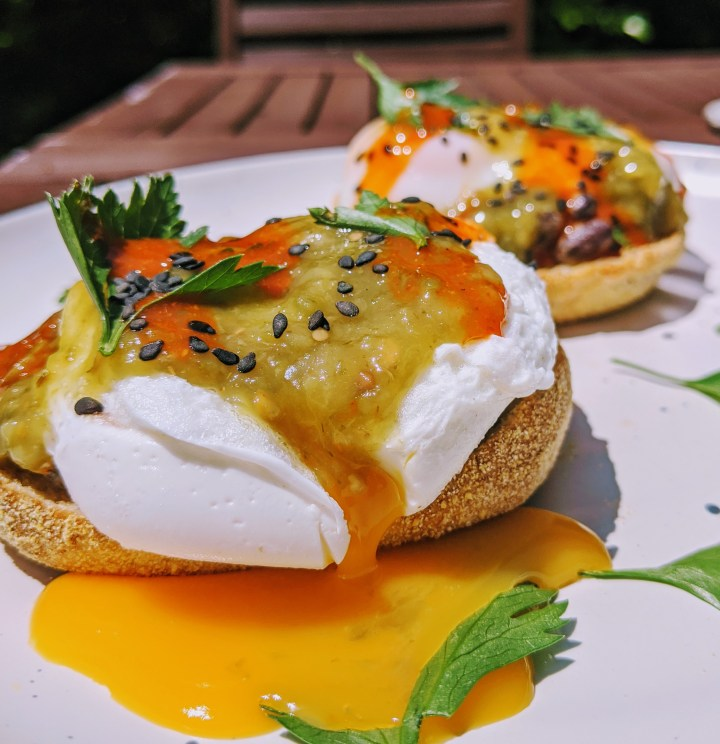 Poached Eggs with Spiced Black Beans and Salsa Verde