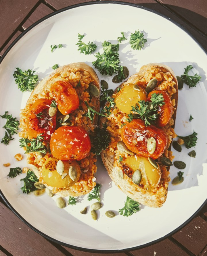Smashed Chickpea and Charred Tomato Toast