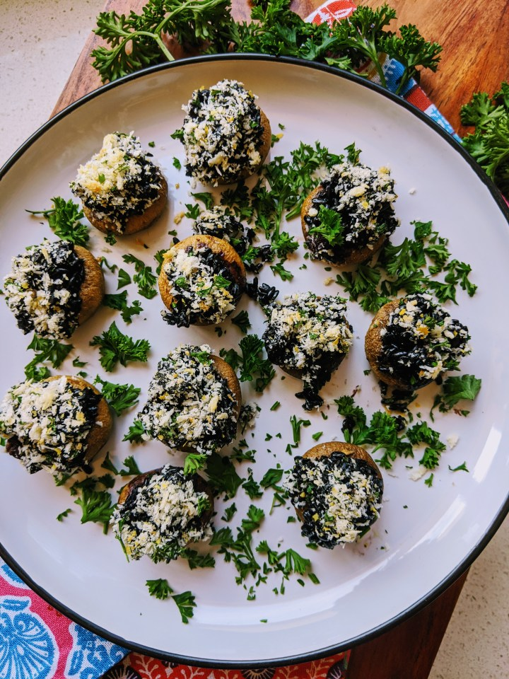Vegan Wild Rice Stuffed Mushrooms