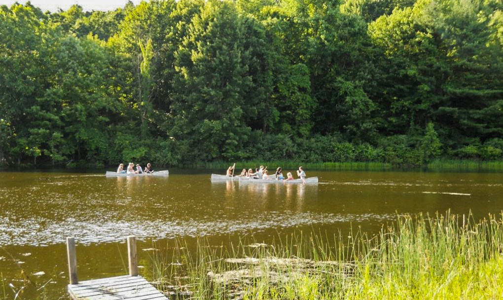 Lake at Camp Ballibay Performing Arts Camp in Pennsylvania, USA
