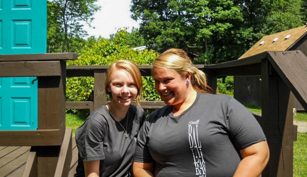 Camp counsellors wearing staff t-shirts at Camp Ballibay Performing Arts Camp in Pennsylvania, USA