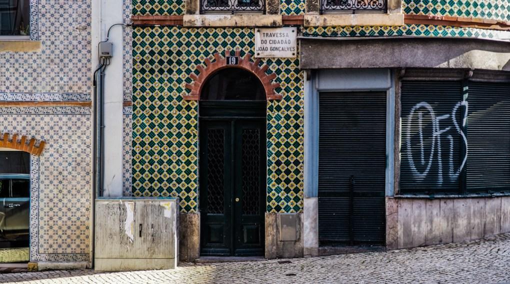 Tiled houses on a street in Lisbon, Portugal