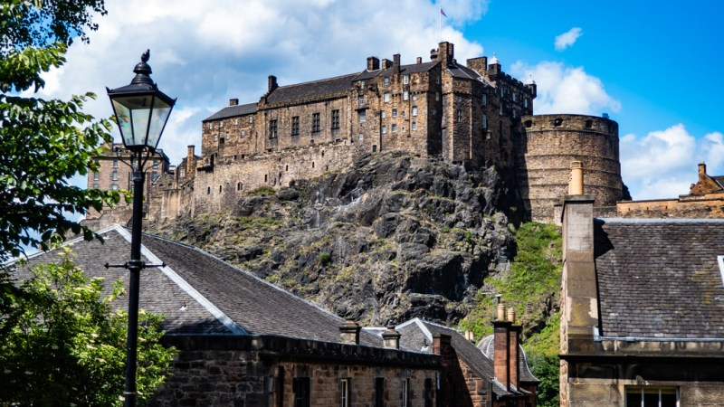 Edinburgh Castle from the Vennel in Edinburgh, UK