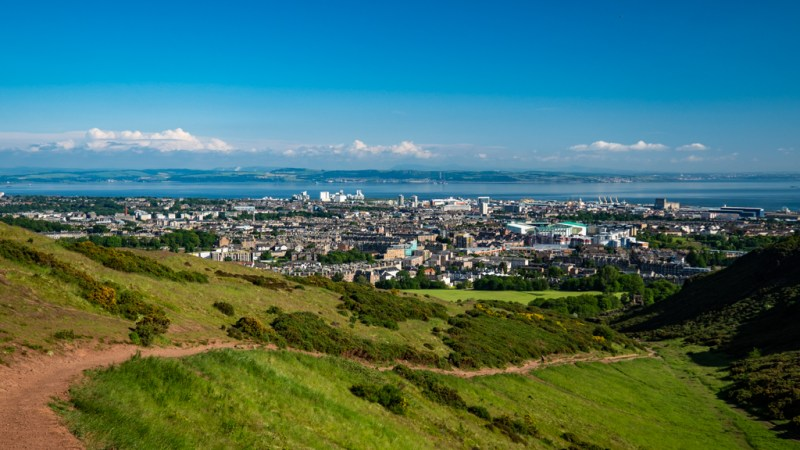 View from Arthur's Seat in Holyrood Park, Edinburgh which is a Trainspotting film location