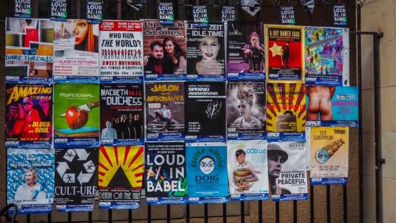 Edinburgh Fringe Festival posters in Scotland, UK
