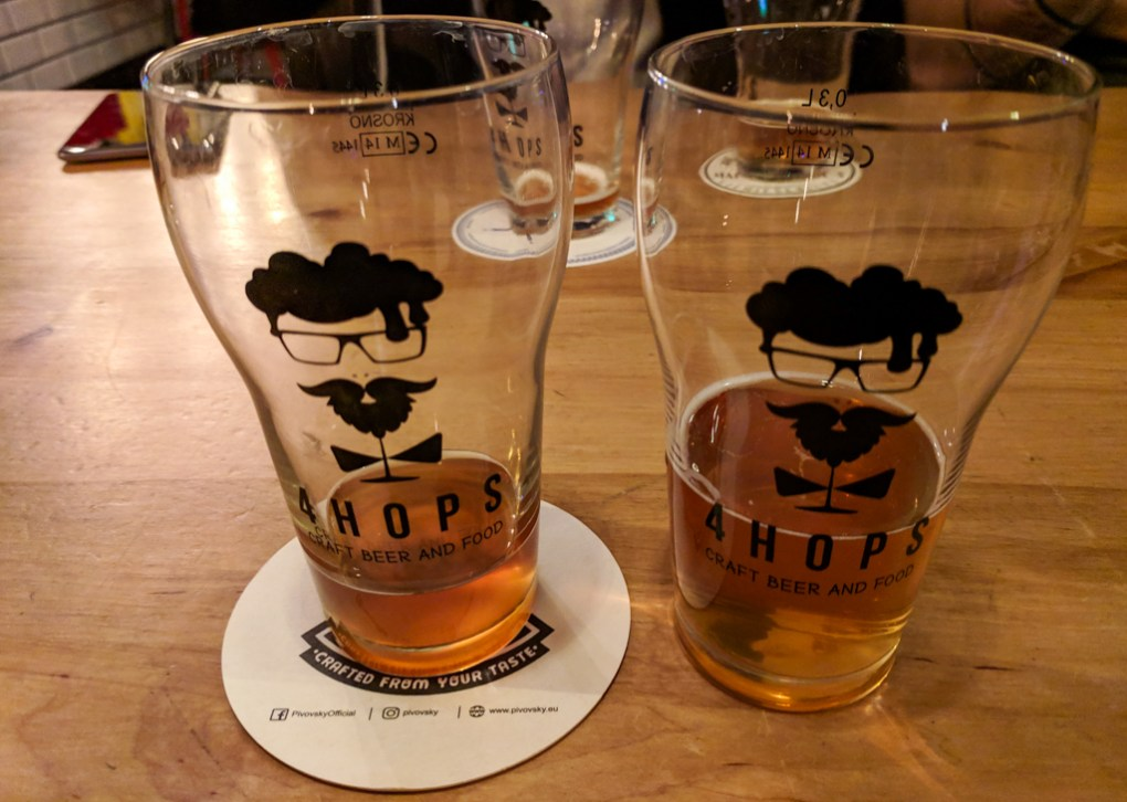 Beer from 4Hops craft beer bar in Wrocław, Poland
