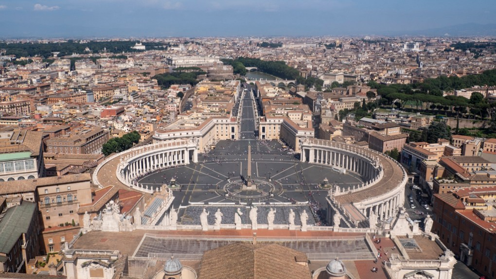 View of St Peter's Square from St Peter's Basilica Dome in Vatican City in Rome, Italy