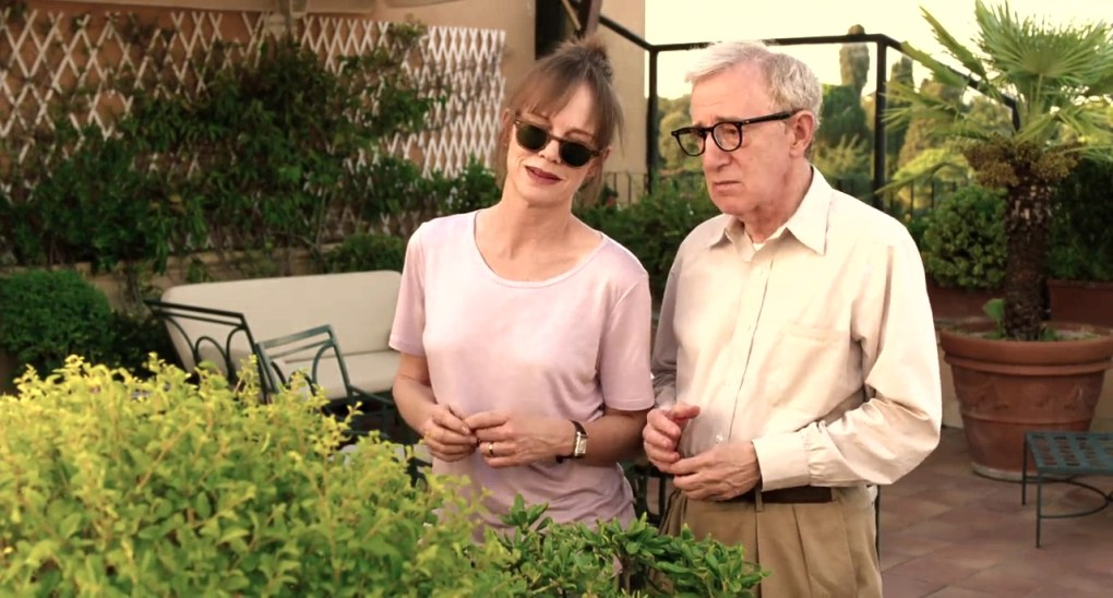 Jerry and Phyllis look out of their courtyard in To Rome with Love (2012)