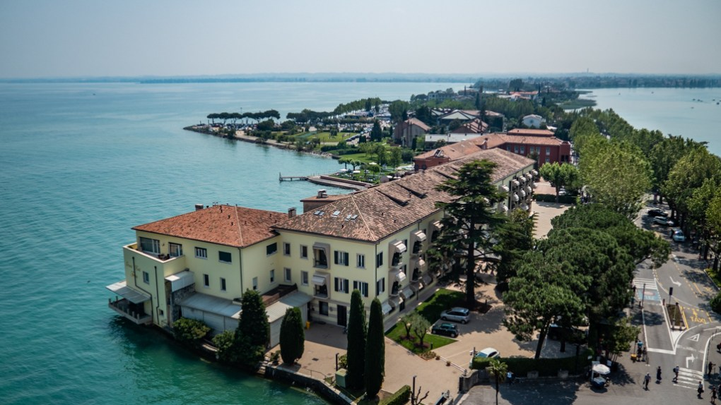 View of Sirmione from the top of Castle Scaligero in Sirmione, Lake Garda in Italy