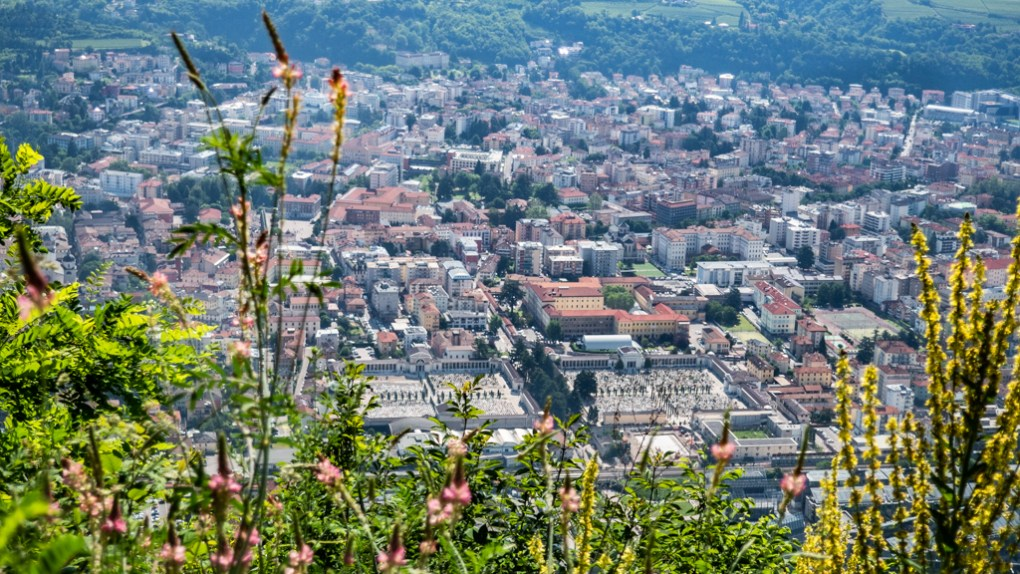 View of Trento from Sardagna Panoramic Viewpoint in Italy