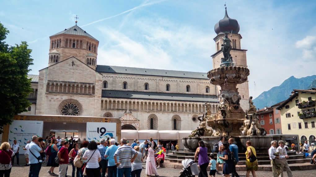 Piazza Duomo and Fountain of Neptune in Trento, Italy