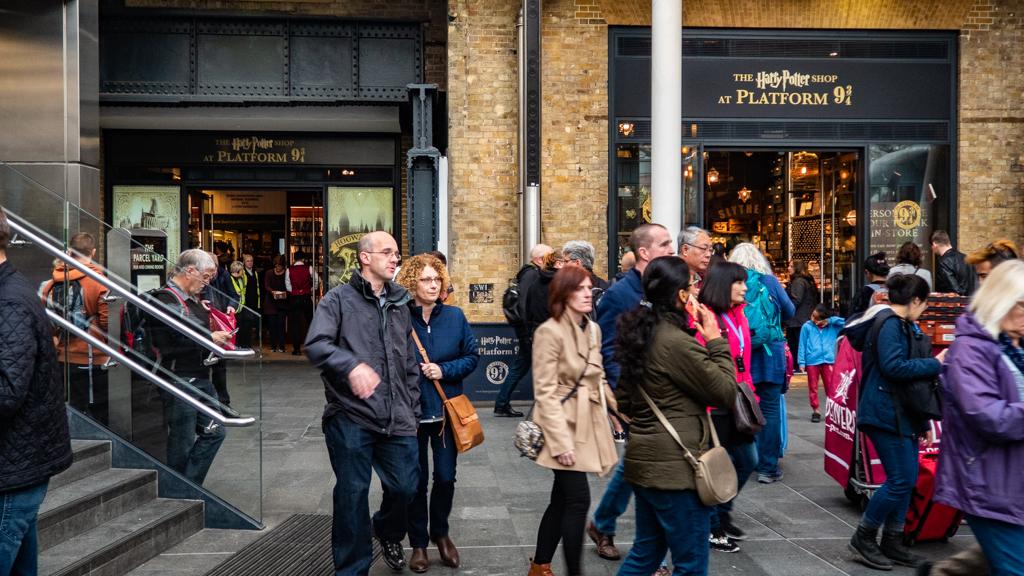 Harry Potter Platform 9 3/4 shop at King's Cross Station, London