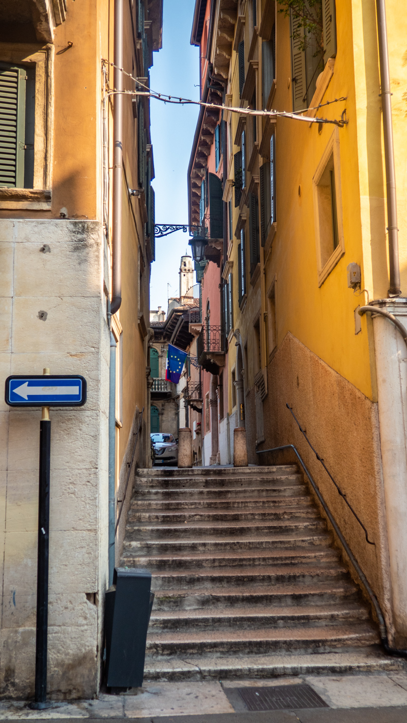 Scalette San Marco just off Piazza Delle Erbe in Verona, Italy