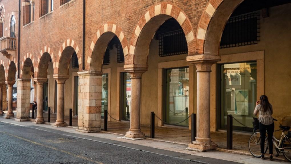 Via Pellicciai just off Piazza Delle Erbe in Verona, Italy