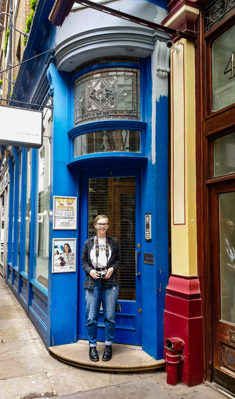 Almost Ginger blog owner in front of London Migraine Clinic in Leadenhall Market, a Harry Potter filming location in London