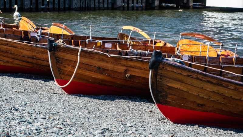 Close up of wooden boats in Bowness-On-Windermere in the Lake District, UK