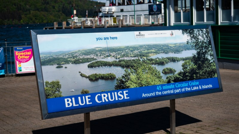 Blue Cruise map from Windermere Lake Cruises in Bowness-On-Windermere in the Lake District, UK