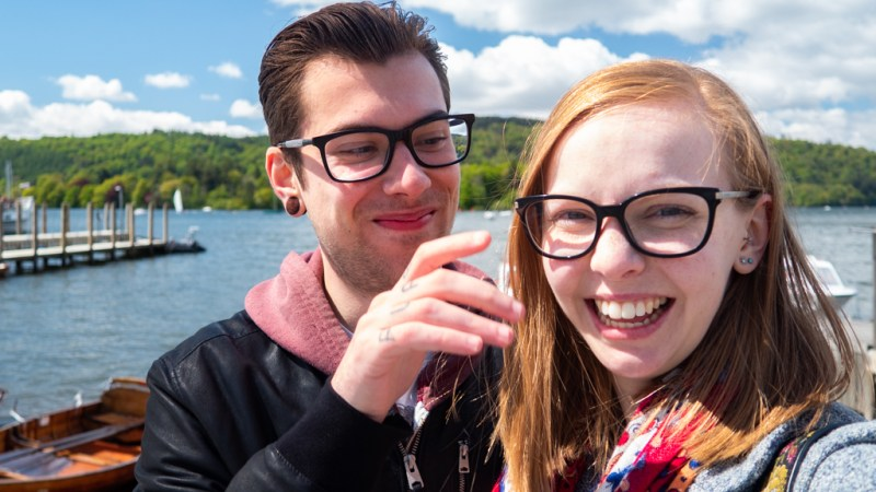 Almost Ginger blog owner with man in Bowness-On-Windermere in the Lake District, UK