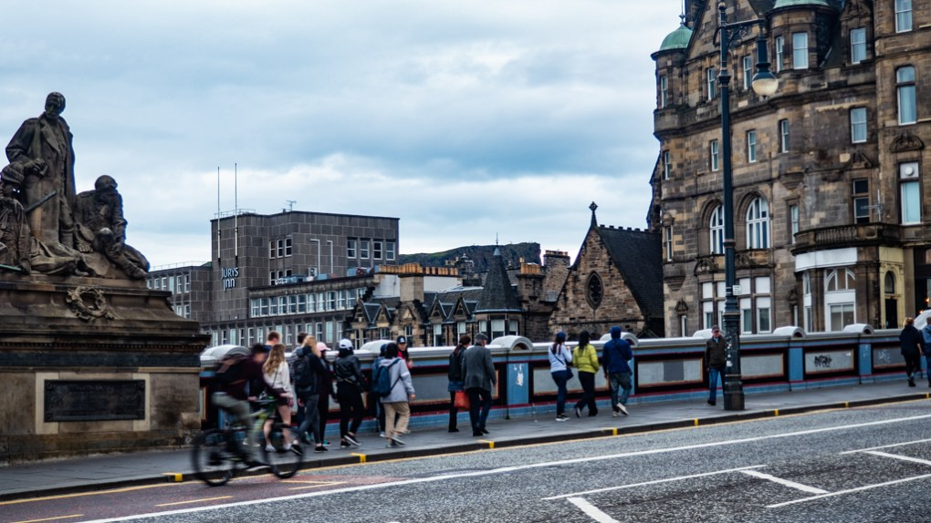 North Bridge over Edinburgh Waverley Station in the UK, a Sunshine on Leith filming location