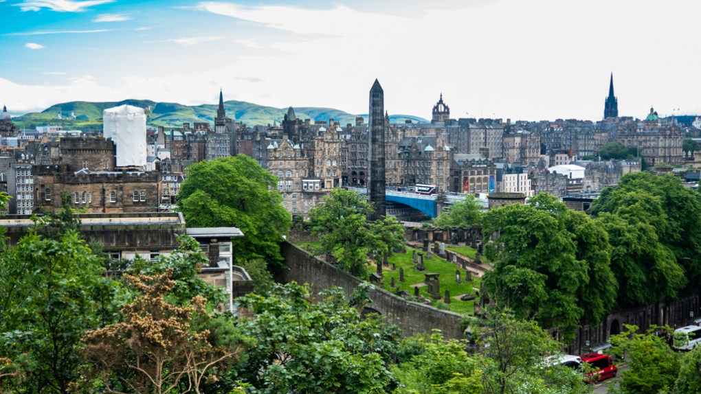 View from Calton Hill in Edinburgh, a Sunshine on Leith filming location