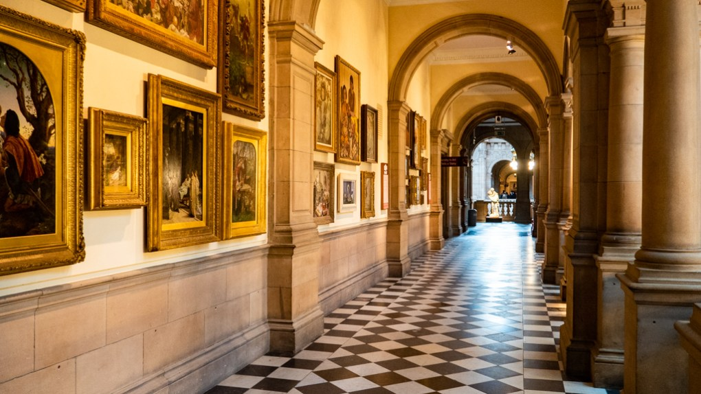 Inside the Kelvingrove Museum and Art Gallery in Glasgow, Scotland