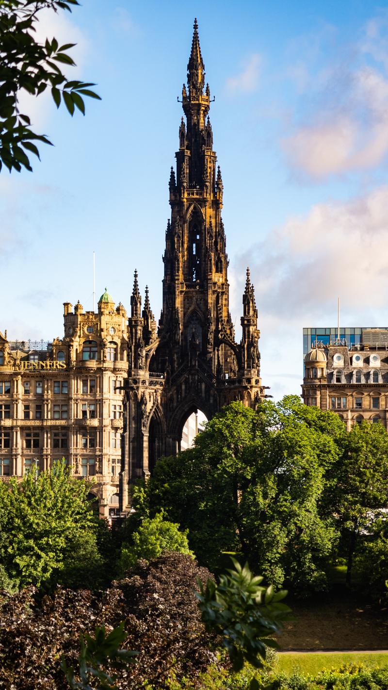 Scott Monument in Princes Street Gardens, Edinburgh in Scotland