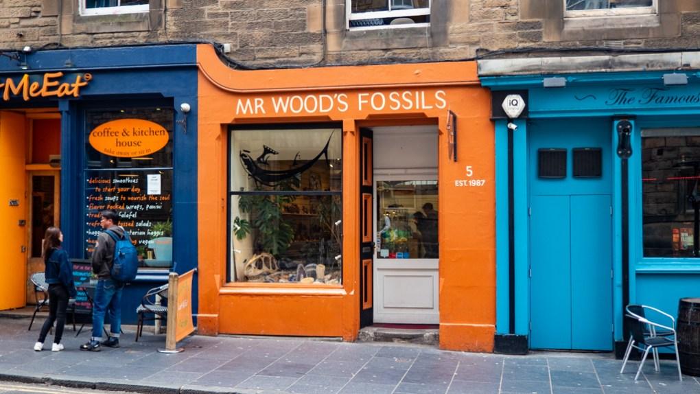 Mr Wood's Fossils shop in Grassmarket, Edinburgh