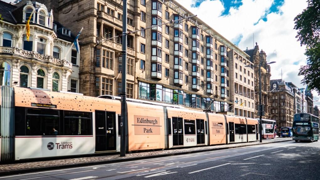 Trams on Princes Street in Edinburgh