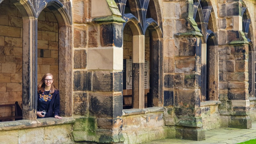 Almost Ginger blog owner at Durham Cathedral, a Harry Potter Filming Location in North East England