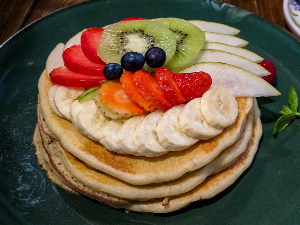 Fruit pancakes for brunch from Central Café in Wrocław, Poland