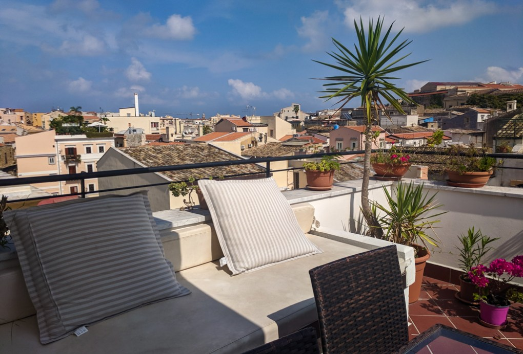 Balcony terrace in an apartment in Palermo, Sicily