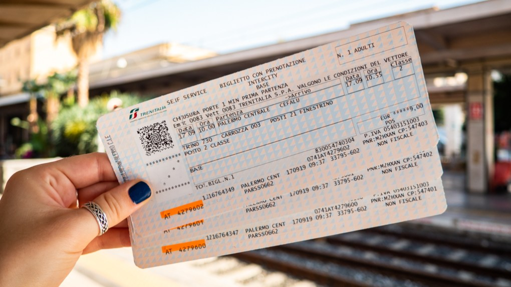 Italy train travel ticket from Palermo to Cefalú
