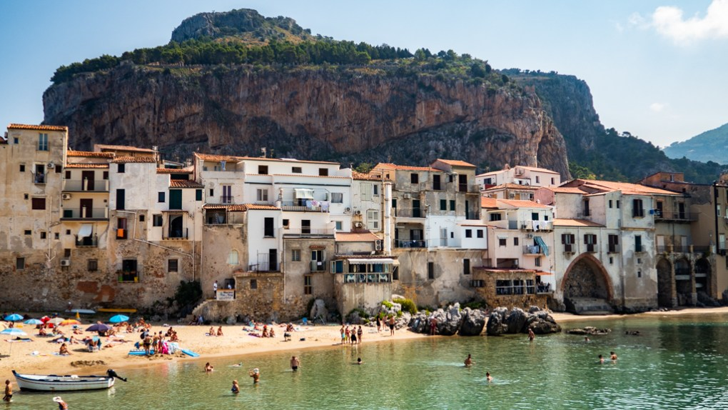 View of Cefalù rock in Cefalù, Sicily