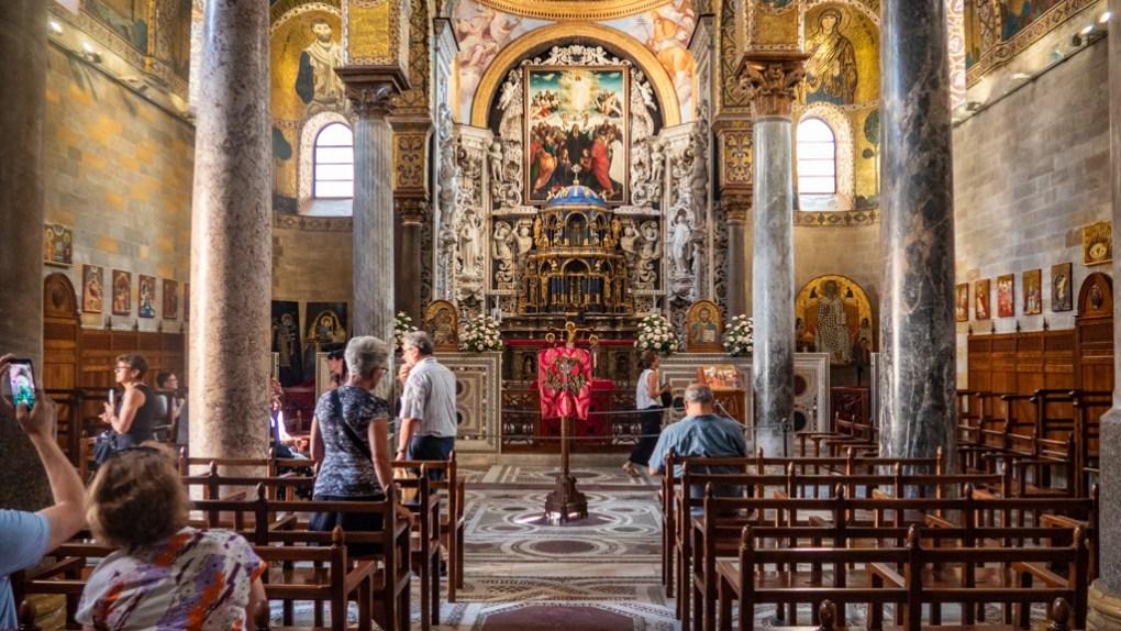 Inside Santa Maria dell'Ammiraglio Church in Palermo, Sicily