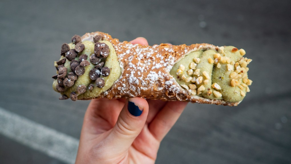 Pistachio Cannoli with hazelnuts and chocolate chips from Cannolissimo in Palermo, Sicily