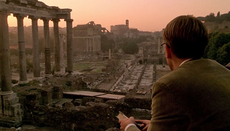 Tom looking out at the Roman Forum from Capitoline Hill, one of The Talented Me Ripley filming locations