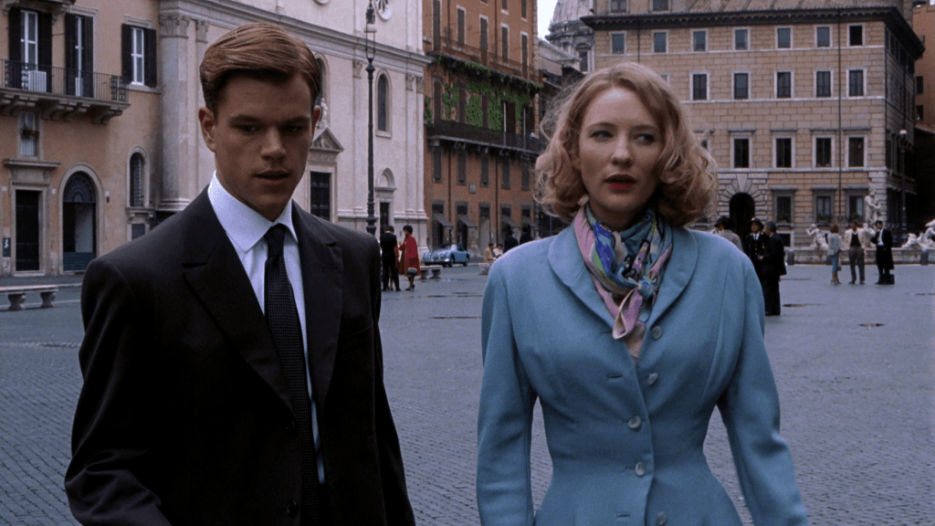 Tom and Meredith in Piazza Navona, one of The Talented Me Ripley filming locations