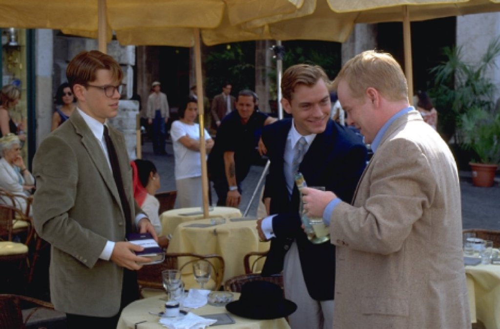 Tom, Dickie and Freddie in Piazza Navona, one of The Talented Me Ripley filming locations