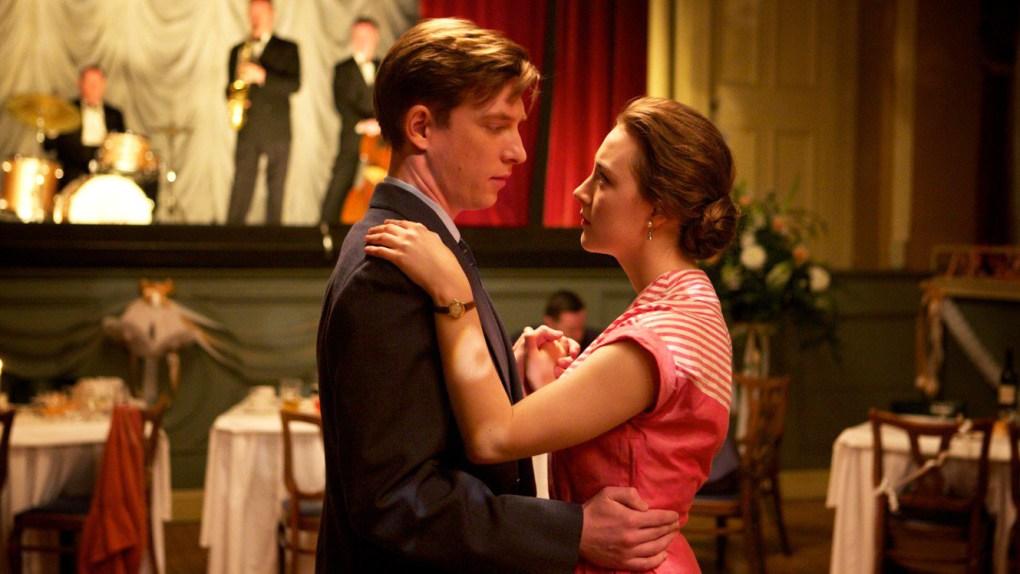 Jim and Eilis dancing at Nancy's Wedding, one of the Brooklyn filming locations in Enniscorthy, Ireland