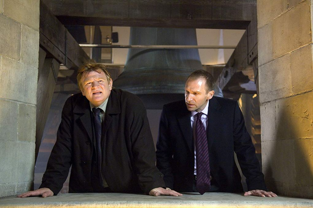 Ken (Brendan Gleeson) and Harry (Ralph Fiennes) at the top of the Belfry of Bruges one of the In Bruges filming locations