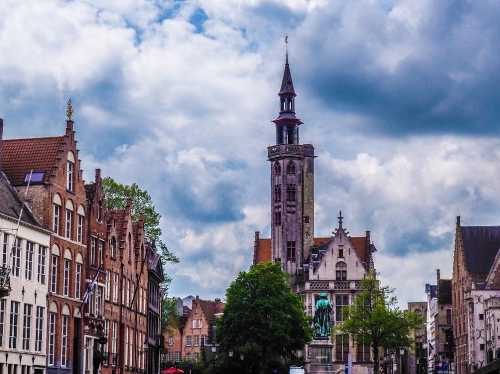 Jan Van Eyckplein in Bruges, Belgium