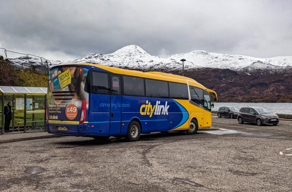 Citylink bus at the Kyle of Lochalsh in Scotland