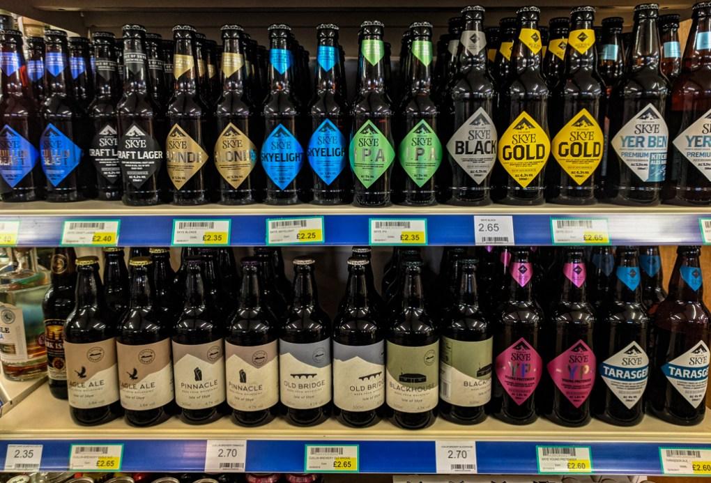 Isle of Skye Brewing Co. Beers in Rankins shop in Uig on the Isle of Skye, Scotland