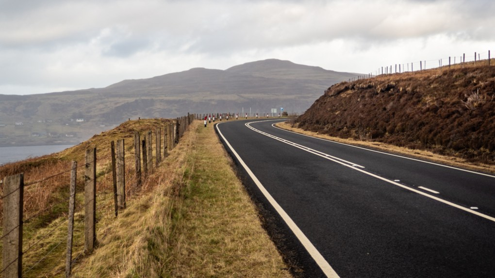 Road to The Cowshed Bunkhouse Hostel in Uig on the Isle of Skye, Scotland