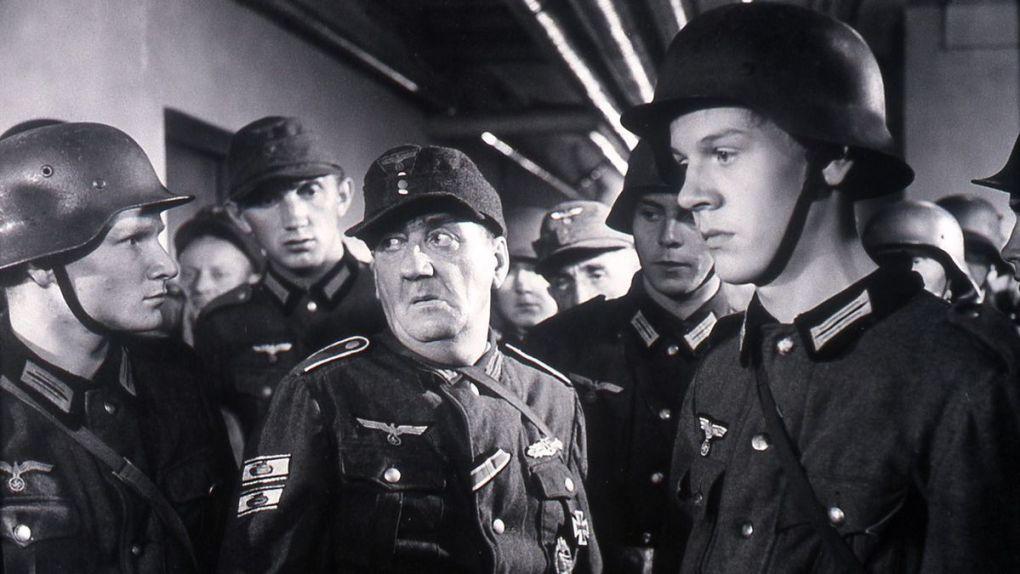 Black and white film still from The Bridge (1959)