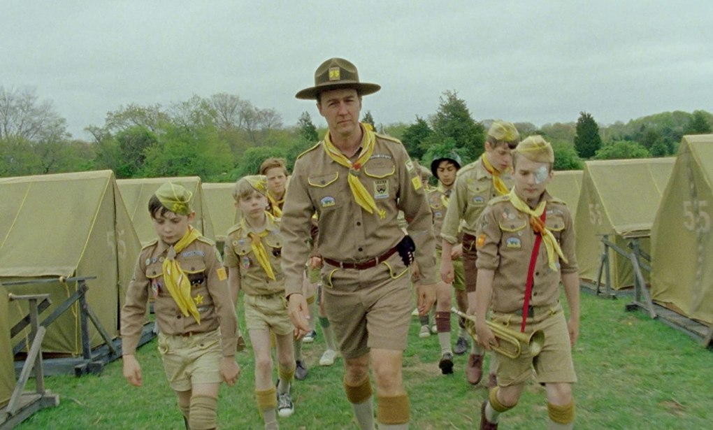 Moonrise Kingdom (2012) film still with Scout Leader Edward Norton and Scout campers in uniform