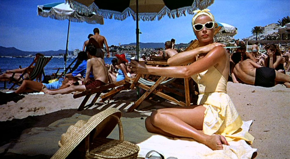 To Catch a Thief (1955) film still of Grace Kelly lying on Hotel Carlton's private beach in Cannes, France