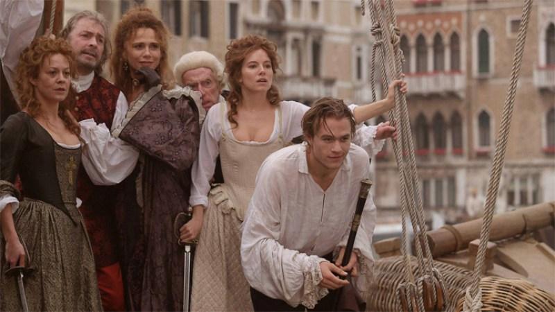 Casanova (2005) film still of Heath Ledger and some women in Venice, Italy