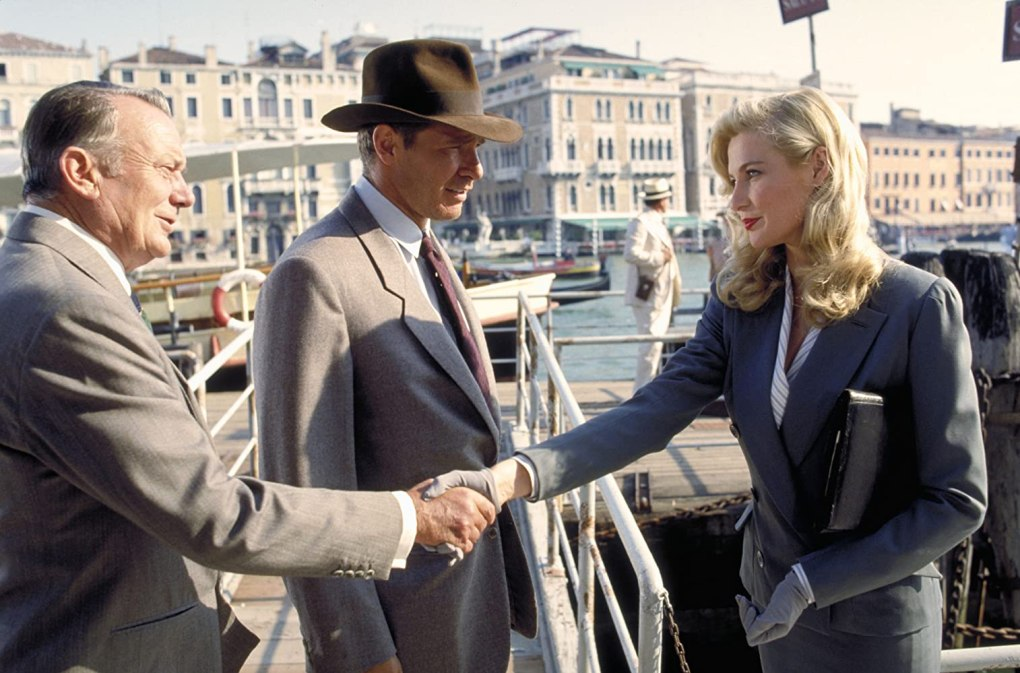 Indiana Jones and the Last Crusade (1989) film still shaking hands in Venice